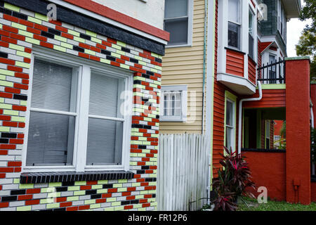 Florida FL St. Saint Petersburg downtown 5th Street North residences houses townhouses - Stock Photo