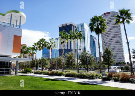Florida FL Tampa Waterfront Arts District Glazer Children's Museum Curtis Hixon Waterfront Park city skyline skyscrapers - Stock Photo