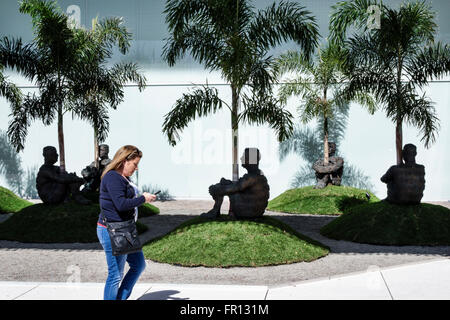 Florida FL Tampa Waterfront Arts District Tampa Museum of Art bronze sculpture The Heart of Trees Jaume Plensa - Stock Photo