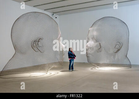 Florida FL Tampa Waterfront Arts District Tampa Museum of Art inside artwork sculpture Jaume Plensa Human Landscape - Stock Photo