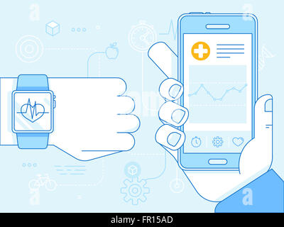 Flat linear illustration in blue colors - health app on the mobile phone and smart watch - health monitoring with - Stock Photo