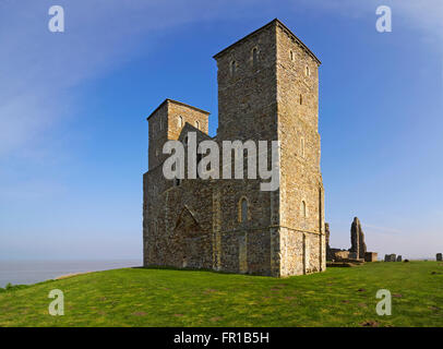 Reculver towers of St Mary's church next to the Roman fort on the North Kent Coast - Stock Photo
