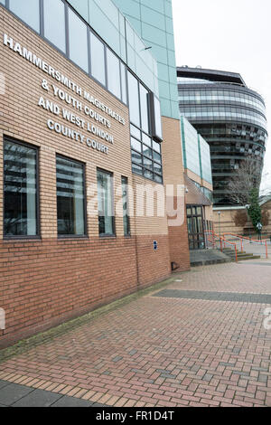 Exterior of Hammersmith Magistrates and Youth Court in SW London, UK - Stock Photo