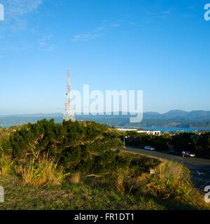 Aerial mast on top of Mount Victoria, Wellington, New Zealand - Stock Photo