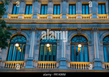 Facade of Banco de España building, night view. Madrid, Spain. - Stock Photo