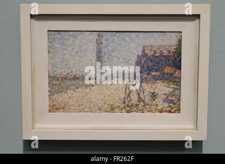 'Study for The Hospital and the lighthouse of Honfleur' by Georges Seurat in the Kröller-Müller Museum, Otterlo, - Stock Photo