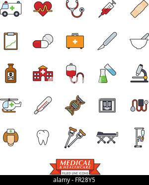 Medical and health care related filled line icons - Stock Photo