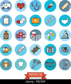 Medical and health care related filled line icons in blue circles - Stock Photo