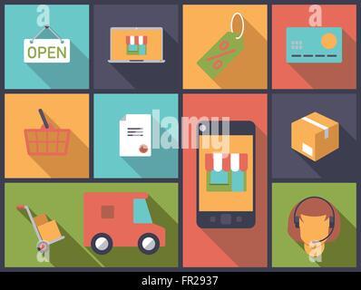 Horizontal flat design illustration with e-commerce and online-shopping symbols - Stock Photo