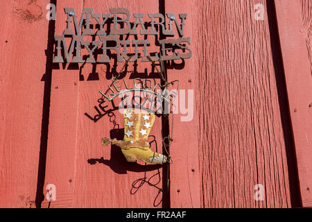Colorado, San Luis Valley, Mosca. Metal sign on red barn 'My Barn, My Rules' - Stock Photo