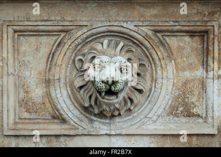 Lion head motif on a doorway in Krakow old town, Poland. - Stock Photo