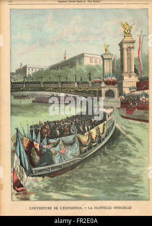 Flotilla of the officials at the opening of the Paris Exhibition 1900 - Stock Photo