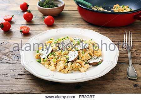 scrambled eggs with mushrooms in a ceramic plate rustic background - Stock Photo