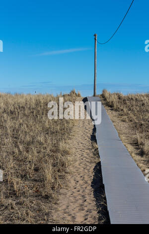walkway in Old Orchard Beach, Maine - Stock Photo