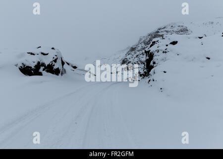 Iceland snow storm - Stock Photo