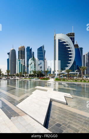 View of modern office towers in West Bay financial and business district in Doha Qatar - Stock Photo