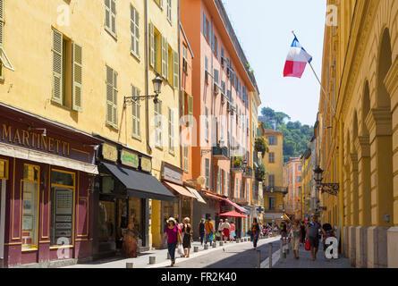 Nice, Cote d'Azur, French Riviera, France. Vieille Ville, the Old Town.  View along Rue de la Prefecture - Stock Photo