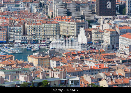 Marseille, Provence-Alpes-Côte d'Azur, France.  High view down onto Vieux-Port, the Old Port, and the city. - Stock Photo
