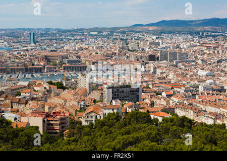 Marseille, Provence-Alpes-Côte d'Azur, France.  High view down onto Vieux-Port, the Old Port, and the city.