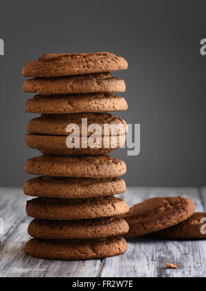 Oatmeal cookies on a wooden table close up - Stock Photo
