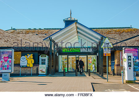 The Entrance to the Welcome Break Services at Abington in Lanarkshire, Scotland on a sunny day. - Stock Photo