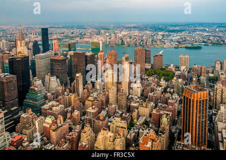 View from the Empire State Building looking North East with top of Chrysler Building visible, New York city, USA - Stock Photo