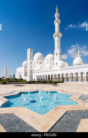 View of of Sheikh Zayed Grand Mosque in Abu Dhabi United Arab Emirates - Stock Photo