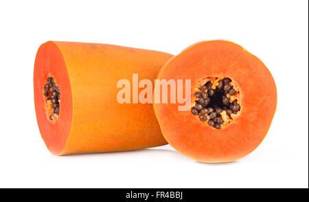 slices of sweet papaya on white background - Stock Photo