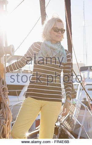 senior woman dressed for sailing - Stock Photo
