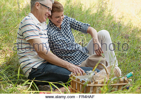 attractive middle-aged couple on a picnic - Stock Photo