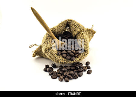 coffee beans in bag isolated on white background - Stock Photo