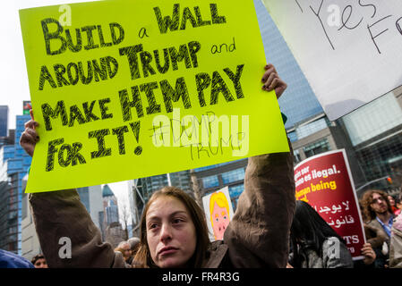 New York, NY - 19 March 2016 - A couple thousand protesters gathered outside Trump International Hotel and Tower, - Stock Photo
