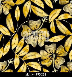 Tropical gold embroidery hibiscus plant in a seamless pattern . - Stock Photo