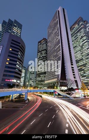 Night view of Shijuku Ward in Tokyo - Japan. - Stock Photo