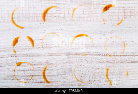 Prints cup of coffee on the wooden table horizontal - Stock Photo