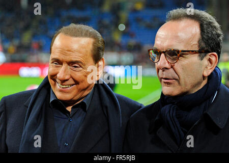 Silvio Berlusconi with the right side Milano's major candidate Stefano Parisi Milano 20-03-2016 Stadio Giuseppe - Stock Photo