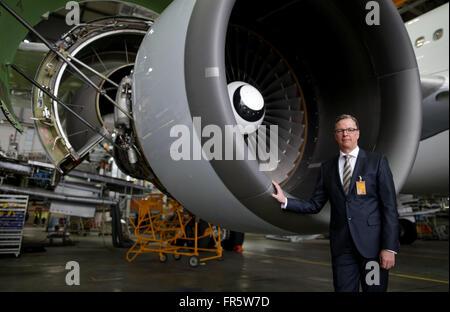Hamburg, Germany. 21st Mar, 2016. Johannes Bussmann, CEO of Lufthansa Technik AG (LHT), stands in front of tzhe - Stock Photo