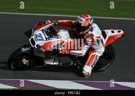 Losail, Qatar. 21st Mar, 2016. Ducati team test rider Casey Stoner of Australia during test day at Losail circuit - Stock Photo