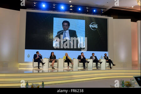 Doha, Qatar. 21st Mar, 2016. Honored guests attend a panel session on the closing day of the World Media Summit - Stock Photo
