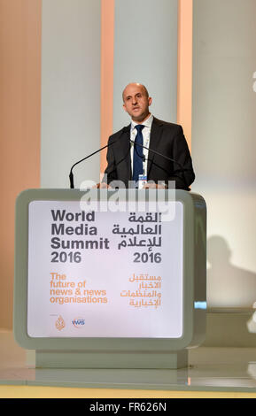 Doha, Qatar. 21st Mar, 2016. Arafat Shoukri, Manager of the Executive Committee of the World Media Summit Doha, - Stock Photo