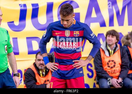 VILLARREAL, SPAIN - MAR 20: Neymar plays at the La Liga match between Villarreal CF and FC Barcelona at El Madrigal - Stock Photo