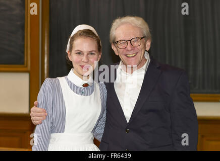Prague, Czech Republic. 26th Jan, 2016. Actress Alicia Rittberg and Professor Karl Max Einhaeupl, CEO of the actual - Stock Photo