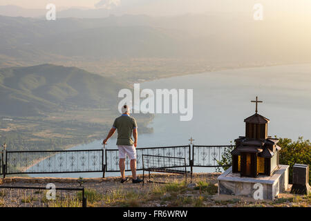Republic of Macedonia, Overview on Lake Ohrid, listed as World Heritage by UNESCO - Stock Photo