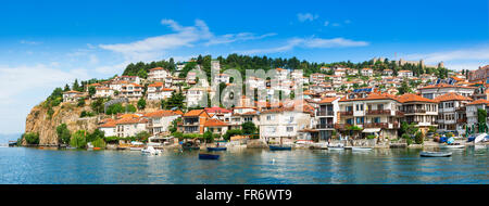 Republic of Macedonia, Ohrid, listed as World Heritage by UNESCO city center by the lake, Panorama on Ohrid - Stock Photo