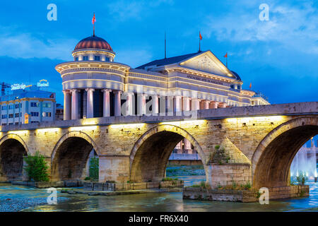 republic of Macedonia, Skopje, the Archeological Museum of Macedonia and the stone Bridge - Stock Photo