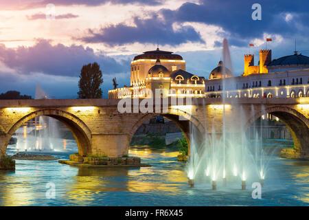 Republic of Macedonia, Skopje, the Stone Bridge over the Vardar river - Stock Photo