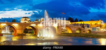 Republic of Macedonia, Skopje, the Stone Bridge over Vardar river - Stock Photo