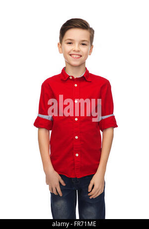happy boy in red shirt - Stock Photo