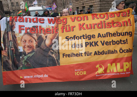 Kurds protesting against Turkish government, demanding an end to the war in Kurdistan. Berlin, Germany. - Stock Photo