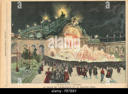 The Electric Palace at night Paris Exhibition 1900 - Stock Photo